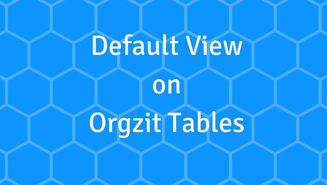 Default View on Orgzit Tables-Orgzit