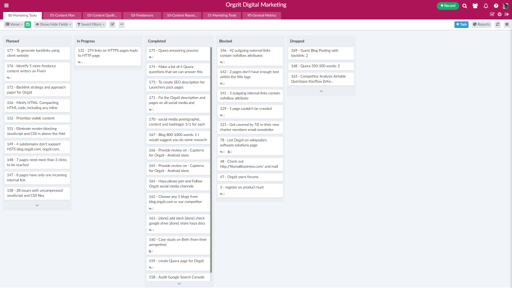 kanban view to track task and project status